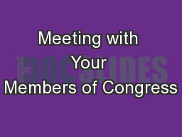 Meeting with Your Members of Congress