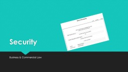 Security Business & Commercial Law