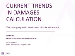 CURRENT TRENDS IN DAMAGES CALCULATION