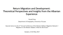 Return Migration and Development:
