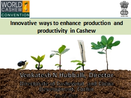 Innovative ways to enhance production and productivity in Cashew