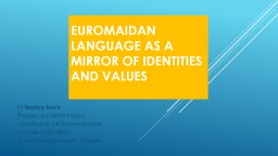 Euromaidan Language as a Mirror of identities and values