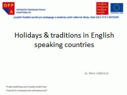 Holidays  & traditions in English speaking countries