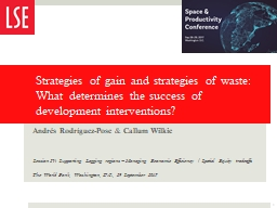 Strategies of gain and strategies of waste: What determines the success of development intervention