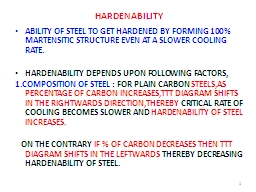 HARDENABILITY ABILITY OF STEEL TO GET HARDENED BY FORMING 100% MARTENSITIC STRUCTURE EVEN AT A SLOW