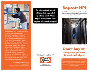 Boycott HP Hewlett Packard supportsand prots fromthe I