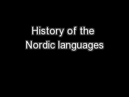 History of the Nordic languages