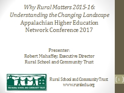 Why Rural Matters 2015-16: PowerPoint PPT Presentation
