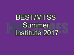 BEST/MTSS Summer Institute 2017