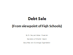 Debt Sale   (From viewpoint of