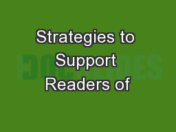 Strategies to Support Readers of PowerPoint PPT Presentation