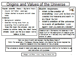 Origins and Values of the Universe