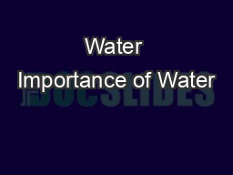 Water Importance of Water