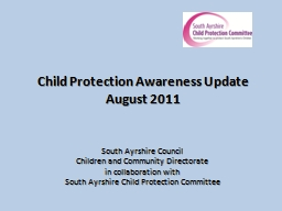 Child Protection Awareness Update August 2011