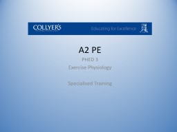 A2 PE PHED  3 Exercise Physiology