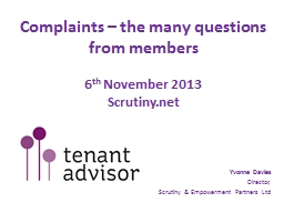 Complaints – the many questions from members