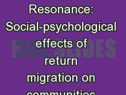 Studying  Habitus Resonance: Social-psychological effects of return migration on communities in the
