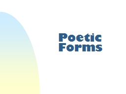 Poetic Forms Closed Form Poems