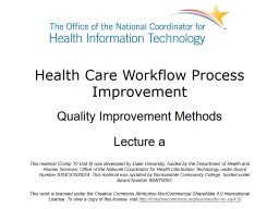 Health Care Workflow Process Improvement