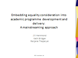 Embedding equality consideration into academic programme development and delivery: