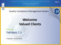 Quality Compliance Management System