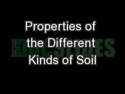 Properties of the Different Kinds of Soil