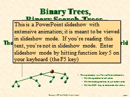 Binary Trees, Binary Search Trees,