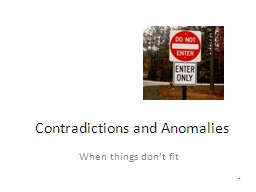 Contradictions and Anomalies