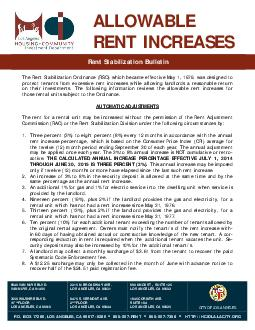 Rent Stabilization Bulletin Rent Stabilization Bulletin ALLOWABLE RENT INCREASES  VAN NUYS BLVD