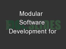 Modular  Software Development for