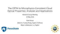 T he  CRTM to Microphysics-Consistent Cloud Optical