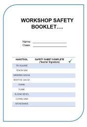 WORKSHOP SAFETY  BOOKLET….