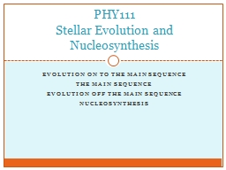 Evolution on to the main sequence PowerPoint PPT Presentation