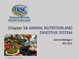 Chapter 34- ANIMAL NUTRITION AND DIGESTIVE SYSTEM