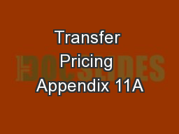 Transfer Pricing Appendix 11A