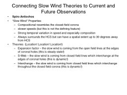 Session:  Connecting  Slow Wind Theories to Current and Future