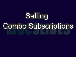 Selling Combo Subscriptions