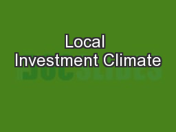 Local Investment Climate