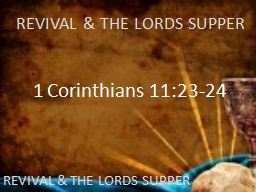 REVIVAL & THE LORDS SUPPER