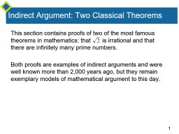 Indirect Argument: Two Classical Theorems