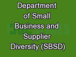 Virginia Department of Small Business and Supplier Diversity (SBSD)