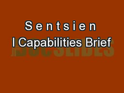 S e n t s i e n l Capabilities Brief PowerPoint PPT Presentation
