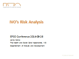 IVO's  Risk  Analysis EPSO Conference 2014-09-26