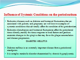 Influence of Systemic Conditions on the