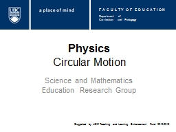 Physics Circular Motion Science and Mathematics Education Research Group