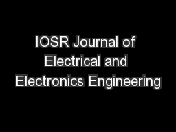 IOSR Journal of Electrical and Electronics Engineering