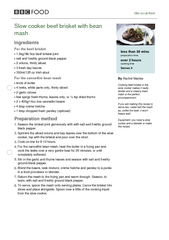 bbccoukfood Slow cooker beef brisket with bean mash In