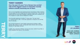 terry TERRY HANSEN Over the past 30 years Terry Hansen has worked with all the biggest names in Aus