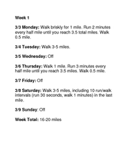 Week   Monday Walk briskly for  mile