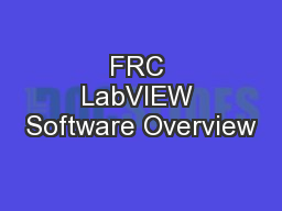 FRC LabVIEW Software Overview